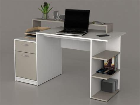 bureau avec rangements bureau zacharie 1 tiroir 1 porte blanc taupe
