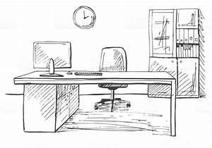 Office In A Sketch Style Hand Drawn Office Furniture