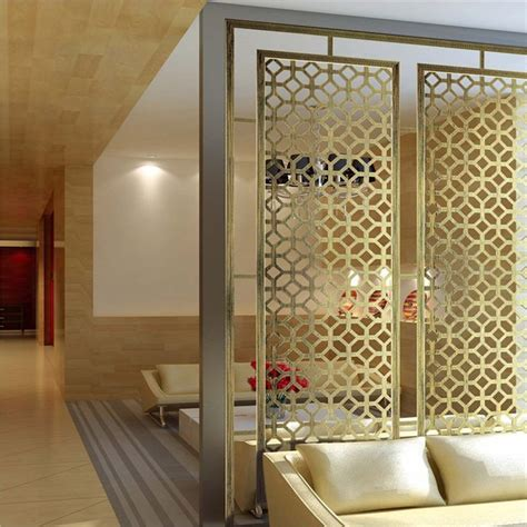 Decorative Partitions - pvd gold hairline finish stainless steel room divider