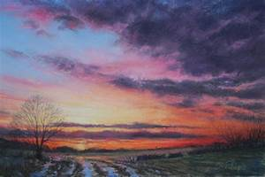 A drawing of a sky at sunset using pastels | Pastel ...