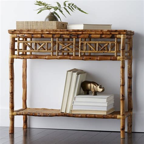 rattan console side table  company store