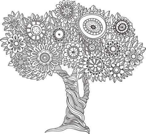 bloemen zwart witte boom vector illustratie illustratie bestaande uit samenvatting 68976822