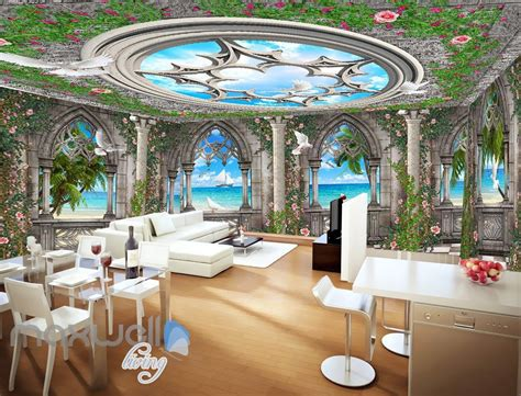 arch window ocean view sky ceiling wall murals