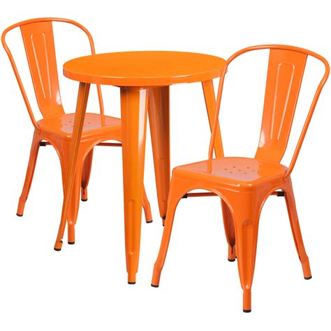 24 orange metal indoor outdoor table set with 2