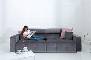 Couch Kissen Xxl : elegantes big sofa heritage grau inkl kissen und verstellbaren kopfst tzen riess ~ Indierocktalk.com Haus und Dekorationen