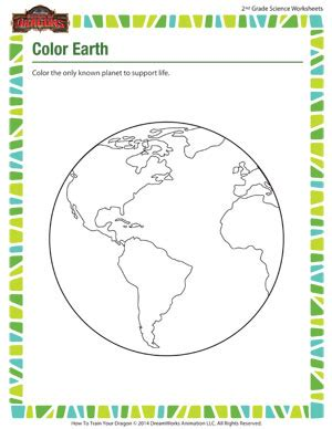 color earth 2nd grade science worksheet printable