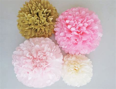 Pink And Gold Tissue Paper Pom Poms 4 Piece Set Weddings