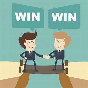 Win Win Businessman With Shake Hands On Cliff Stock ...