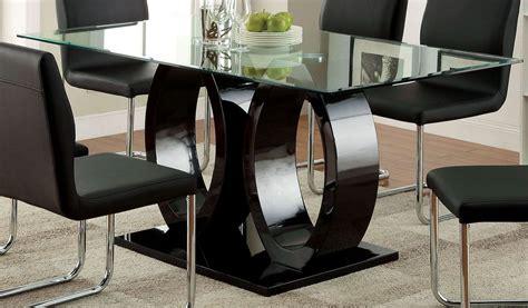 black dining room table lodia i black glass top rectangular pedestal dining room