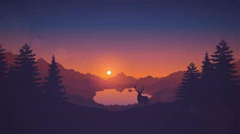 sunset, Drawing, Animals, Lake, Landscape, Deer, Artwork