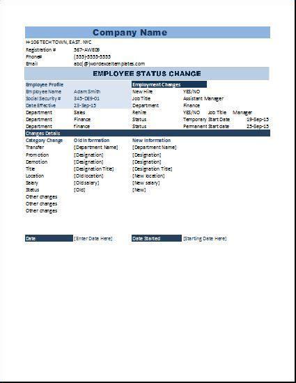 employee status change form templates change words