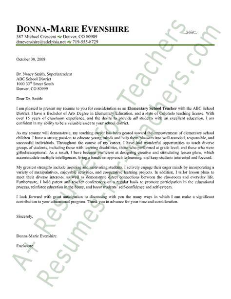 elementary teacher cover letter sample employment