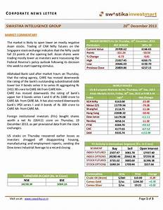 Morning stock market news letter 20 december