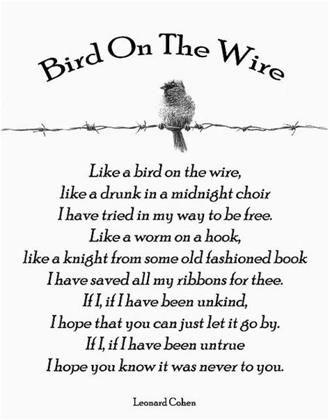 i know why the caged bird sings poem leonard cohen wire and birds on pinterest