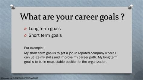 What Are Your Term Career Goals by Techniques And Question Answers