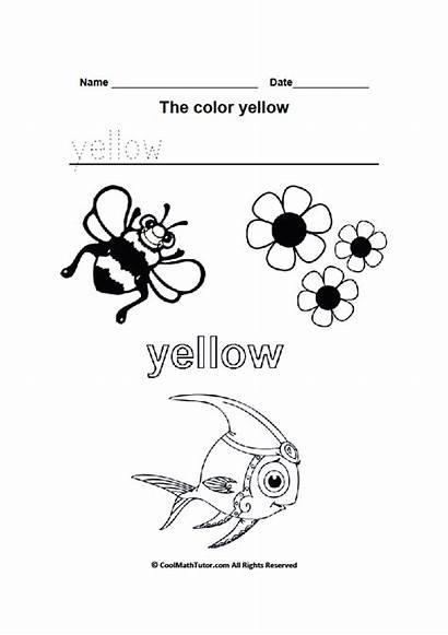 Worksheets Yellow Preschool Printable Kindergarten Coloring Colors