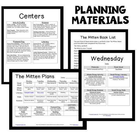 the mitten preschool classroom lesson plans preschool 111 | Mitten PT Planning Materials