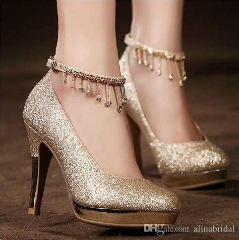 2017sparkling Golden Lace Up Wedding Bridal Shoes Crystals