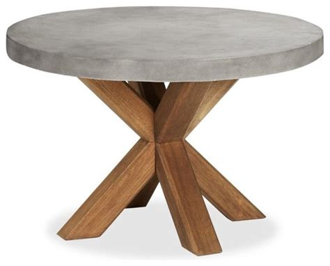 concrete top outdoor dining table abbott concrete top round fixed dining table