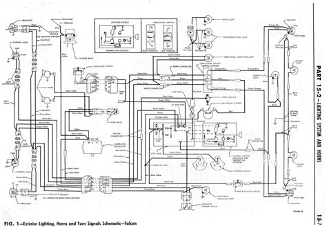 1964 ford falcon wiring diagram for exterior lighting horns and turn signals schematic 59540