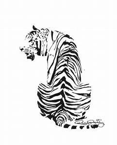 Sitting Tiger Ink Sketch, Ink Drawing, Pen and Ink, Black and White, Fine Art Print, Giclee