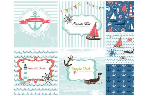 nautical postcard template nautical card templates sea patterns card templates