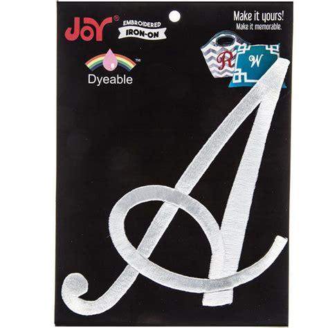 joy jumbo embroidered iron  dyeable white monogram letter  pc joylettershop monogram