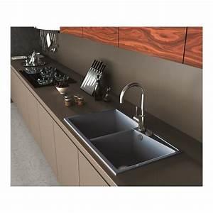 Evier A Encastrer : evier encastrer meuble 90 cm 2 bacs gris m tal robinet ~ Melissatoandfro.com Idées de Décoration