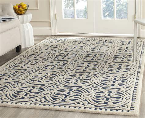 Safavieh Wool Rugs by Safavieh Cambridge Navy Blue Ivory Wool Contemporary Area