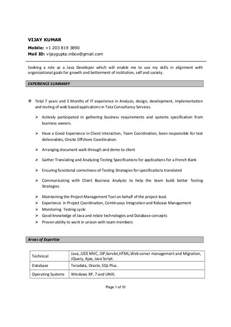 vijay kumar java developer resume