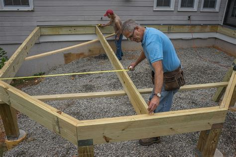 Joist Spacing For Deck Stairs by Decks Installing Joists On A Deck With Angles And A