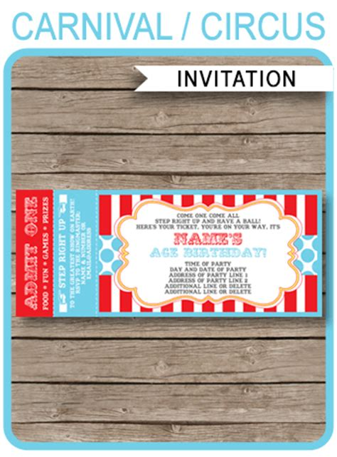 circus ticket invitation template carnival  circus party