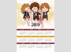 Free Printable 2019 Harry Potter One Page Calendar The