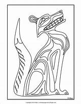 Native American Northwest Fox Coloring Pages Pacific Sheets Indian Totem Animal Wolf sketch template