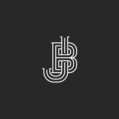 creative logo jb  bj initials logo monogram thin lines