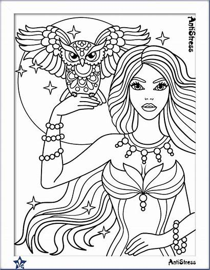 Coloring Pages Adult Adults Owl Fairy Blank