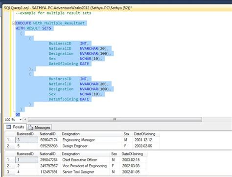 how to use temp table in sql server all about sqlserver sql server 2012 with result sets