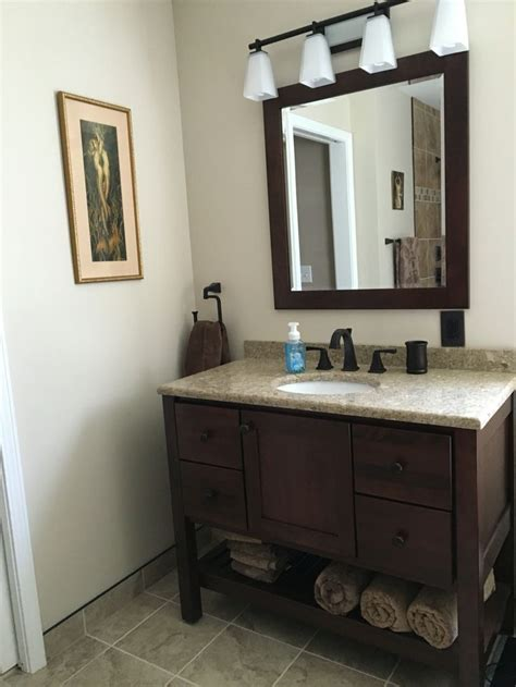 Bertch vanity in Brindle, Bertch mirror , Cambria Quartz
