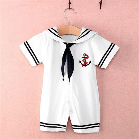 Infant Clothes by Newborn Infant Baby Boy Sailor Romper Jumpsuit