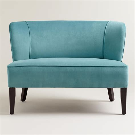 Loveseat Upholstery Cost by Caribbean Blue Quincy Loveseat World Market Features