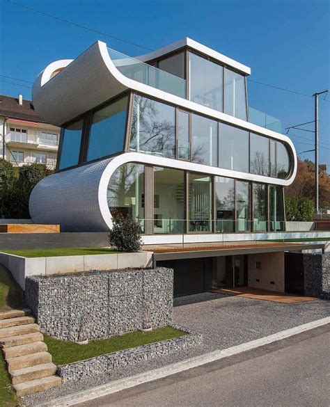 ultramodern ribbon winds flexhouse  zurich designed