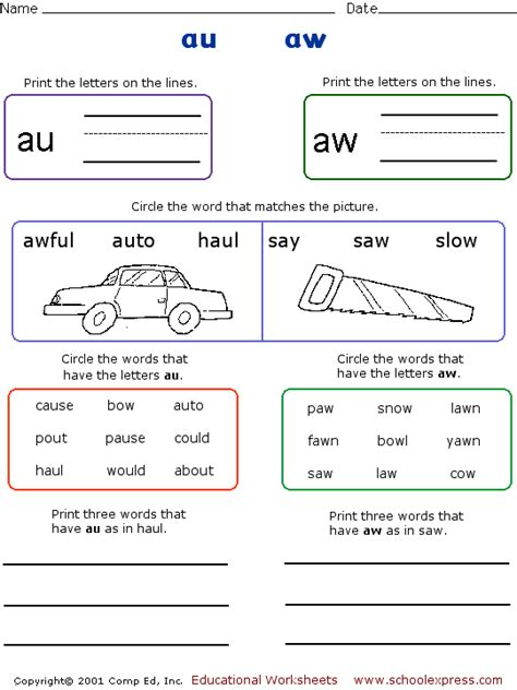 au and aw reading vowel digraphs phonics