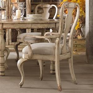 Hooker Furniture Wakefield Distressed White Splatback Arm