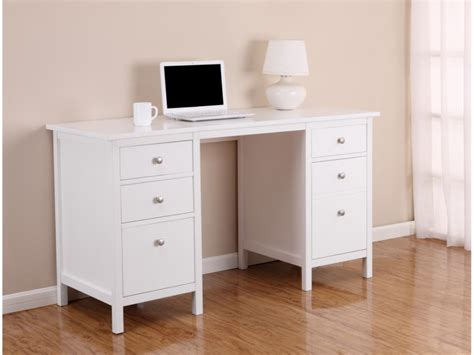 canape de jardin en bois bureau albane 4 tiroirs 1 porte pin massif blanc