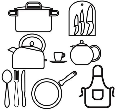 Coloring Utensil by Kitchen Utensils Coloring Page For