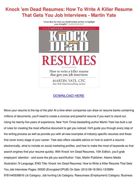 knock em dead resumes how to write a killer r by