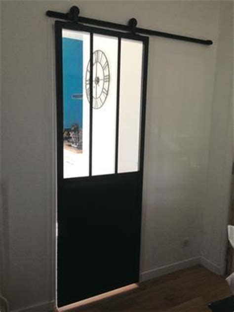 porte coulissante aluminium noir atelier verre clair