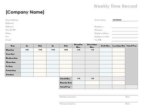 Time Card Excel Template 2 Week by Employee Attendance Tracker Office Templates