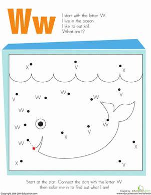 alphabet dot to dot w worksheet education 506   alphabet dot to dot the