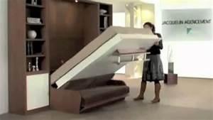 lit escamotable couchage quotidien video square deco With armoire lit escamotable avec canape